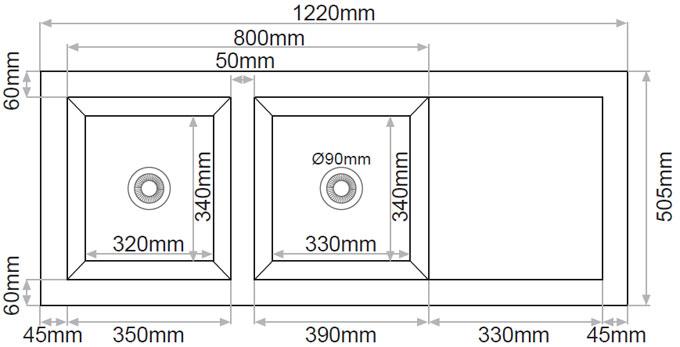 Fregadero de fibra sobre encimera syan core 1220 x 505 for Lavadero medidas