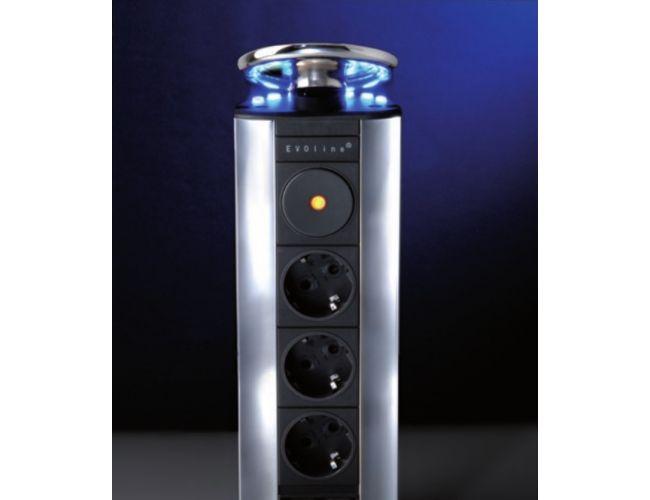 Enchufe de cocina CucineOggi energy box Escamoteable -   IL 700 LED -   3  Enchufes - Tapa en lacada en plata Y 3 Leds Azules.