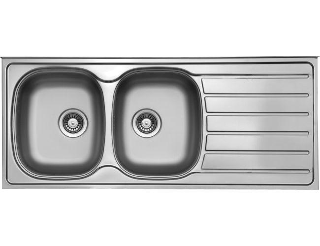 Fregadero dos senos con escurridor acero Ukinox Monza 1160