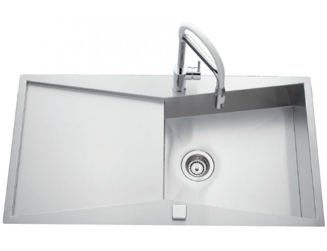 Fregadero de acero inoxidable Luisina Calisto EV70011 - 1000 x 520 mm - 1 gran cubeta + 1 escurridor