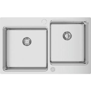 Fregadera doble cuba de acero Rodi UNA Reverse 81 - 81x50,5