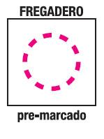 Fregradero orificios pre-marcados