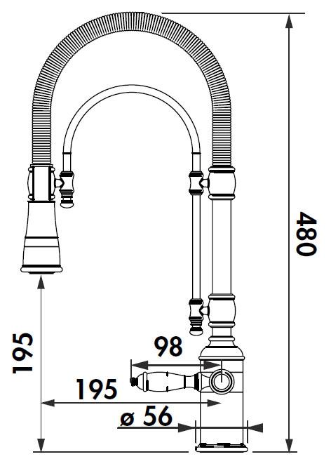 Grifo de cocina Luisina RCD110 - Monomando cromado con ducha