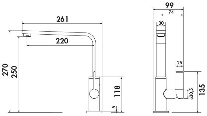 Grifo de cocina Luisina RCD474 - Monomando cromado de diseño