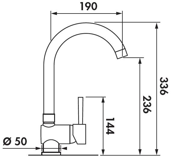 Grifo de cocina Luisina RCD73 - Monomando cromado con caño giratorio y maneta lateral