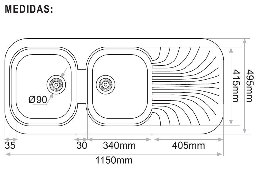 Fregadero de fibra sobre encimera syan cronos 1150 x 495 for Medidas fregadero 1 seno