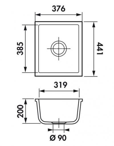 Medidas cubeta de cerámica Rubato EVSP5048