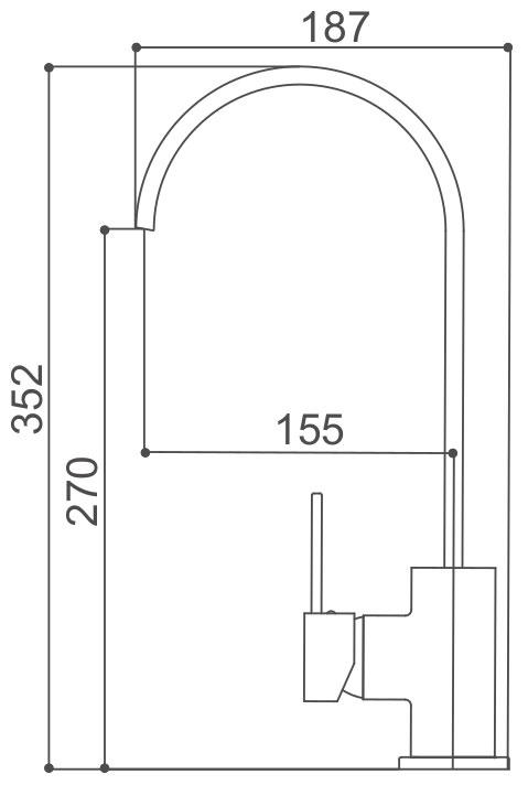 Medidas Grifo de cocina Borras AMS9206C