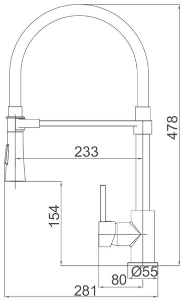 Medidas Grifo cocina extraíble Borras K43232C