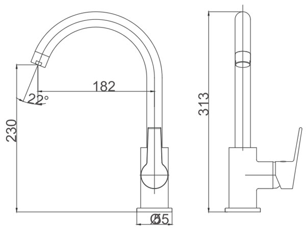 Medidas Grifo cocina Borras TOK2985-1C