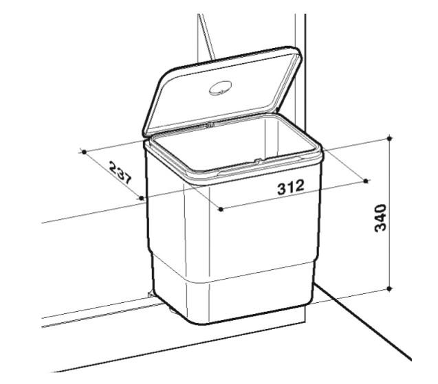 Cubo Sesamo de apertura automática con la puerta  - 9011P