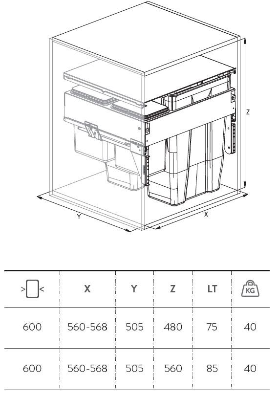Esquema de medidas de los cubos de basura Cucine Oggi Quadrifoglio 573