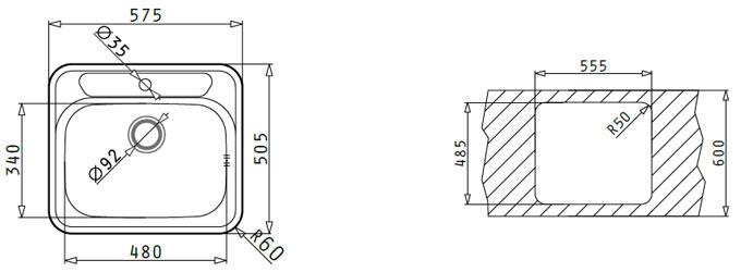 Información para montaje del fregadero