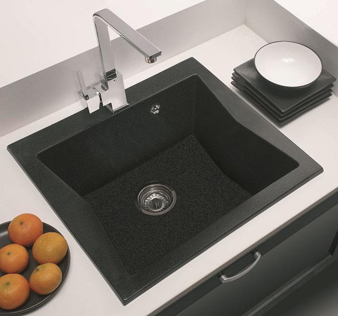 Fregadero Hermes sobre encimera: Color Granito Negro