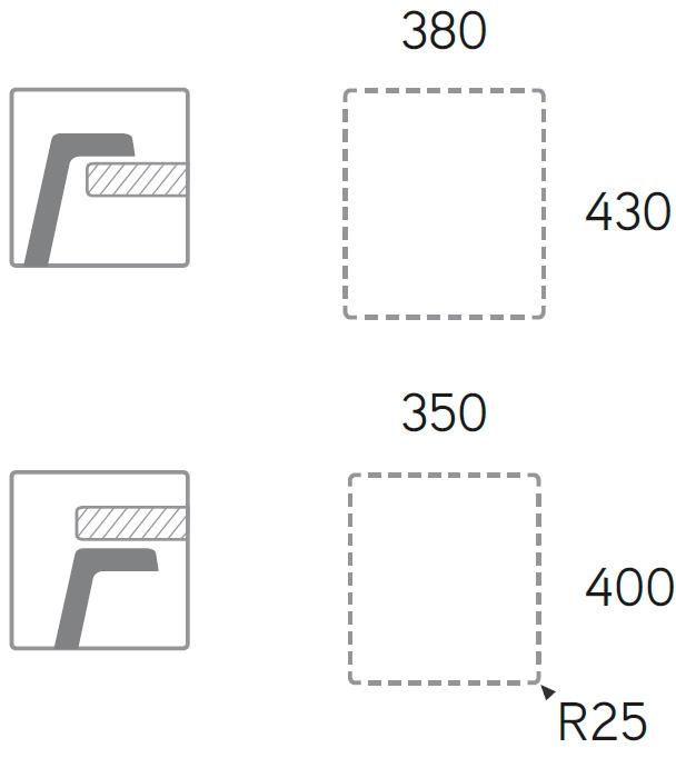Medidas de corte cubeta premier 400