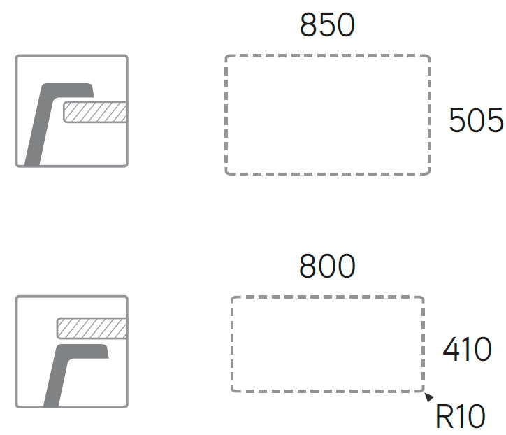 Medidas de corte fregadero Select 860