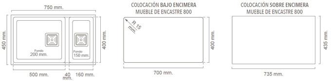 Medidas Fregadero Poalgi ZIE 70 - Ref. 173