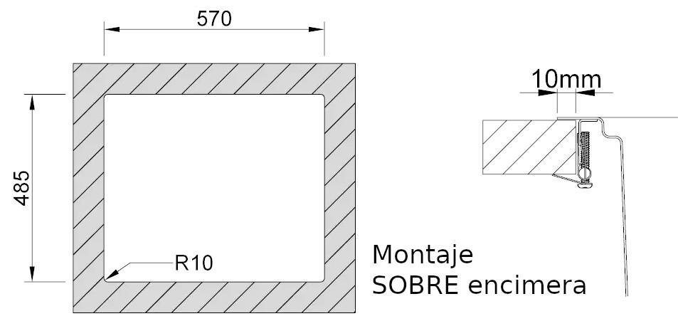 Medidas de corte Rodi UNA 60 reverse ras encimera