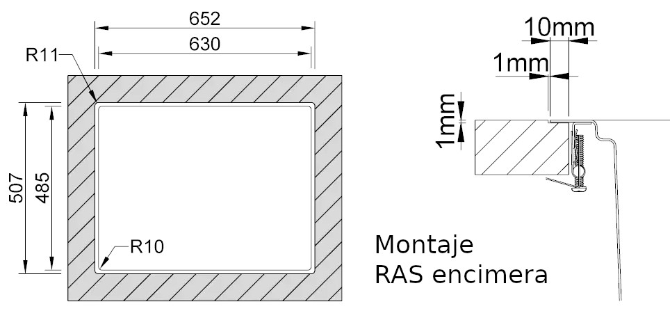 Medidas de corte Rodi UNA 65 reverse ras encimera