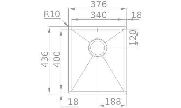 Medidas Fregadero Rodi BOX LINE 34