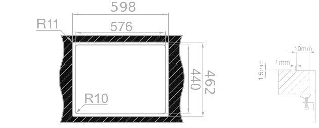 Medida de corte Rodi BOX LINE 65 INTEGRADO encimera