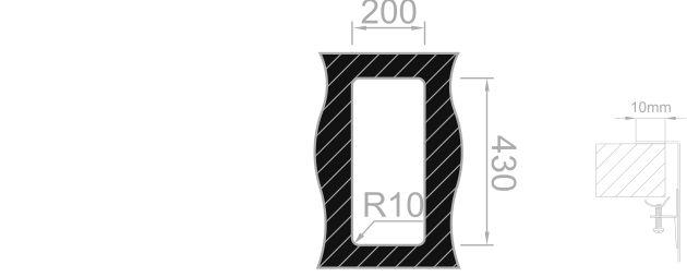 Medida de corte Rodi BOX LUX 17 SOBRE encimera