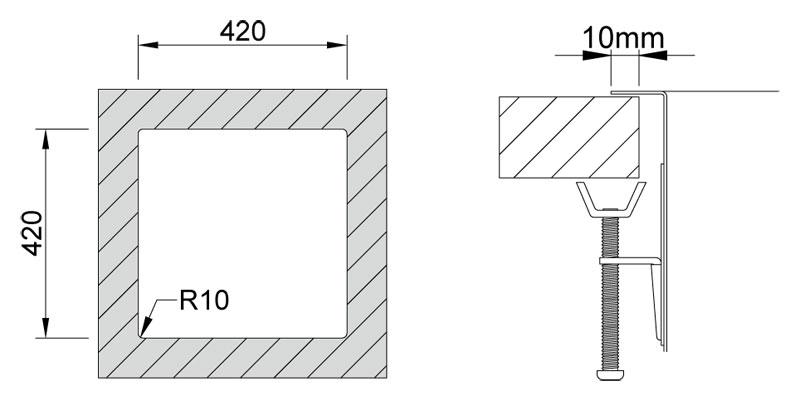 Medida de corte Rodi BOX LUX 40 SOBRE encimera