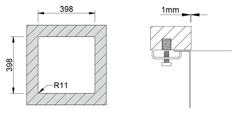Medida de corte Rodi BOX LUX 40 BAJO encimera