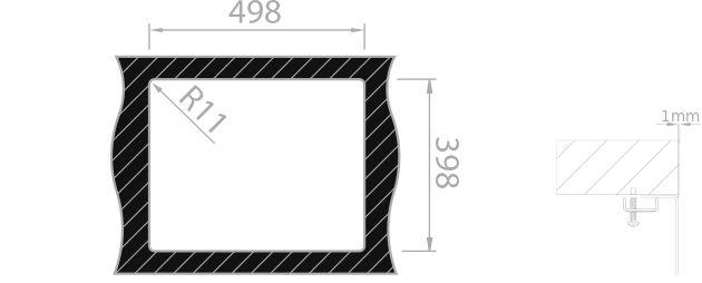Medida de corte Rodi BOX LUX 50 BAJO encimera