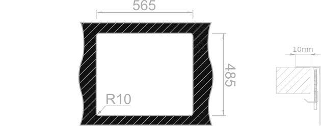 Medida de corte Rodi BOX LUX 56 SOBRE encimera