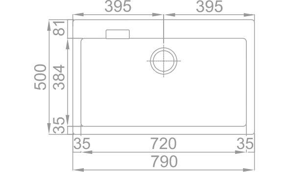 Medidas Fregadero Rodi Composite 80B