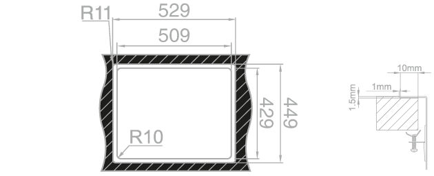 Medida de corte Rodi BOX LUX 55 INTEGRADO encimera