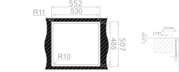 Medida de corte Rodi Lux Step 57 INTEGRADO encimera