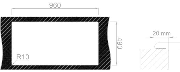 Medida de corte Rodi Lux Glass 105 SOBRE encimera