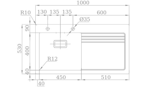 Medidas Fregadero Rodi Lux Glass 105