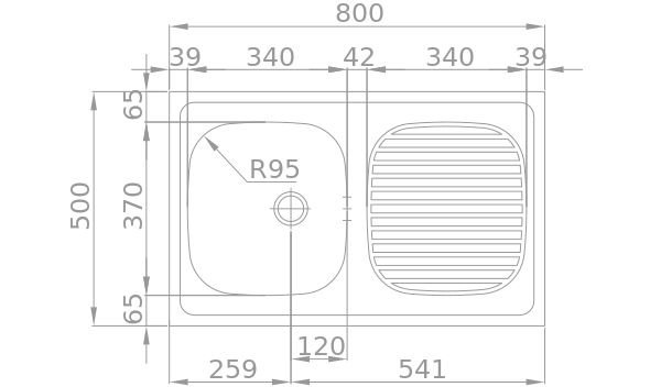 Medidas Fregadero Rodi OBRA 800x500 B