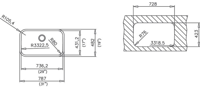 Medidas fregadero bajo encimera TEKA  BE 74.43 - 10125121